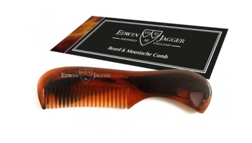 Edwin Jagger Beard & Moustache comb Tortoise Shell